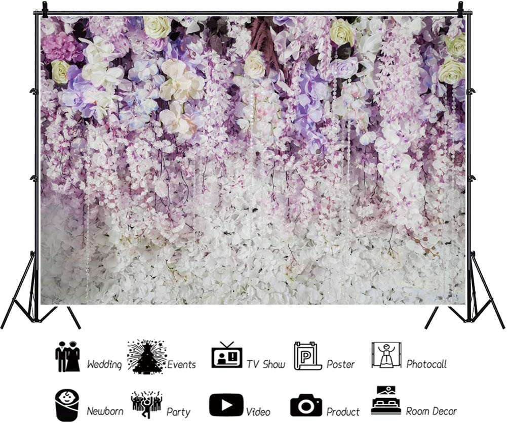 YEELE Wedding Backdrop with Flowers and Decorations 10x8ft Groom and Bride Portrait Photography Backdrop Wedding Bridal Valentines Photo Booth Banner Dessert Table Photoshoot Wallpaper
