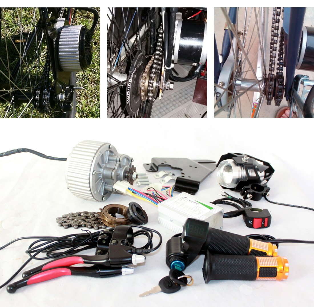 450ワットアップグレード電動自転車ブラシモータledレンズ電動バイクヘッドライトスロットルでキースイッチブレーキレバーを収めることができミラー [並行輸入品] B0785H5T3Y 24V450W
