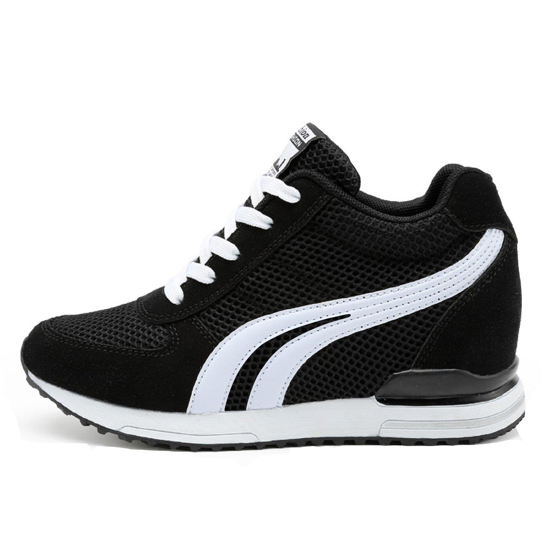 LILY999 Damen Sneakers Wedges Keilabsatz 7cm Sportschuhe Atmungsaktive Mesh Laufschuhe Outdoor Freizeitschuhe Turnschuhe