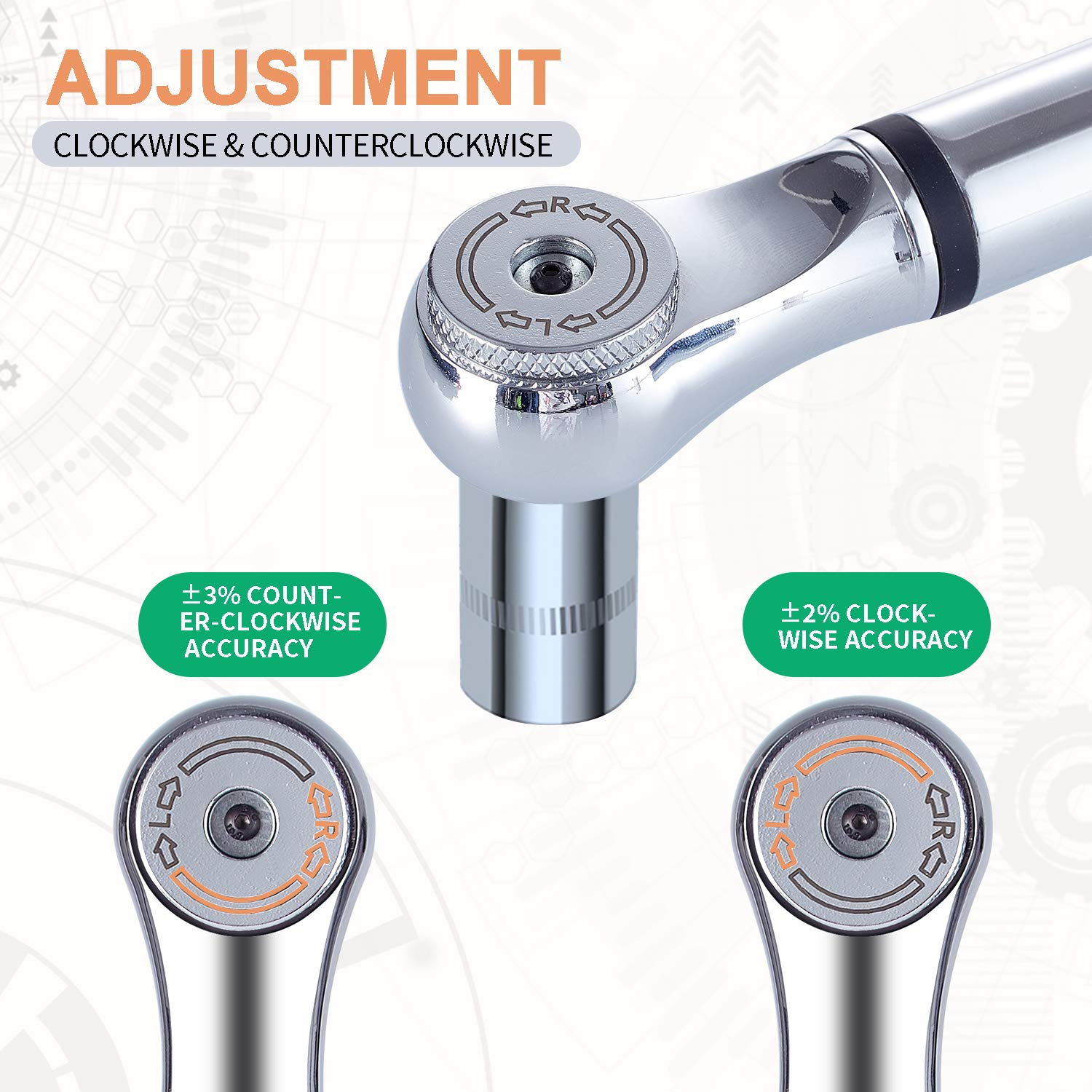 SOLUDE 1//4 Micro Digital Adjustable Torque Wrench,1~20 Nm,8.84~176.88 in.-lb Torque Range Portable Precision Measuring Tools with Buzzer and LED Notification