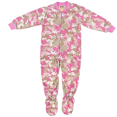 7059256b2767 Amazon.com  Big Feet Pjs Pink Camouflage Fleece Footed Pajamas for ...