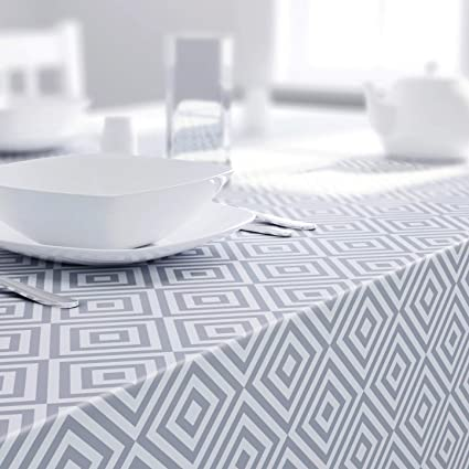 Homcomodar Grey Round Table Cloth in Cotton and Linen for Dining Table 150cm