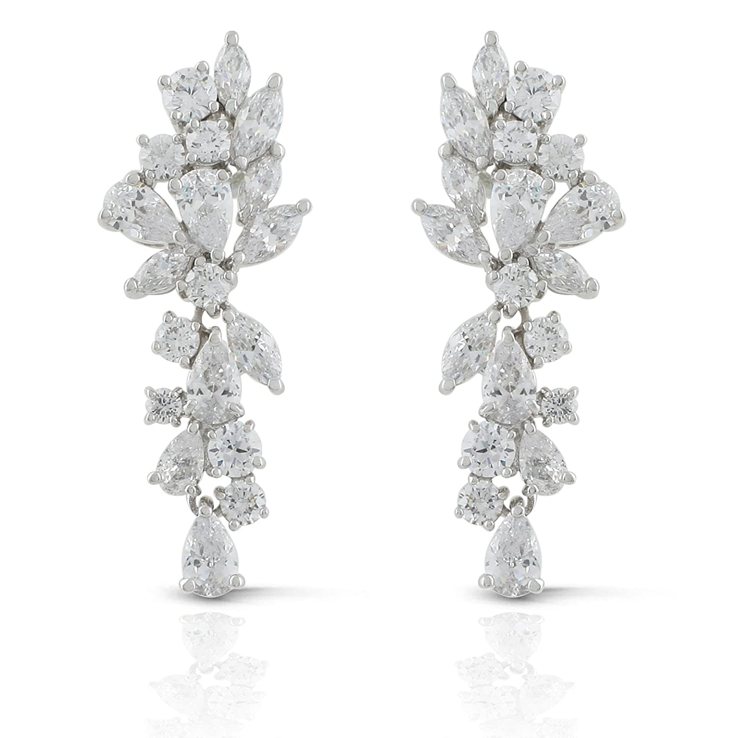 2cc8c737d5a42c Amazon.com: JanKuo Jewelry Rhodium Plated Bridal Floral Leaves Marquise Cubic  Zirconia Chandelier Earrings: Jewelry