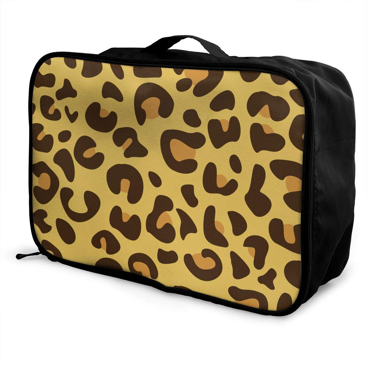 JTRVW Luggage Bags for Travel Portable Luggage Duffel Bag Leopard Skin Travel Bags Carry-on in Trolley Handle