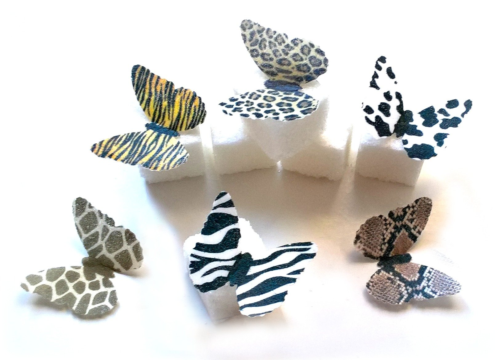24 Animal Print Edible Wafer Paper Butterflies Mini Very Small 1'' Cake Cupcake Toppers Decoration Cow Giraffe Snake Leopard Cheetah Zebra Tiger by Deco Machine Butterflies (Image #1)