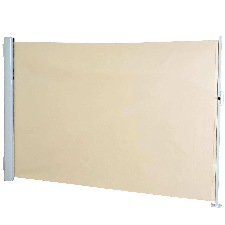 Mendler Seitenmarkise T139, Sichtschutz Sonnenschutz Windschutz, Alu  1,8x3m, Creme
