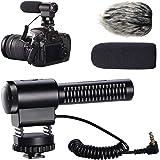 カメラマイク Ploture 外付けマイク一眼レフ対応 指向性コンデンサーマイク D-SLR 録音用マイク ソニーの富士フイルムオリンパスパナソニックDSLRファーウィンドシールド付きで動作します。