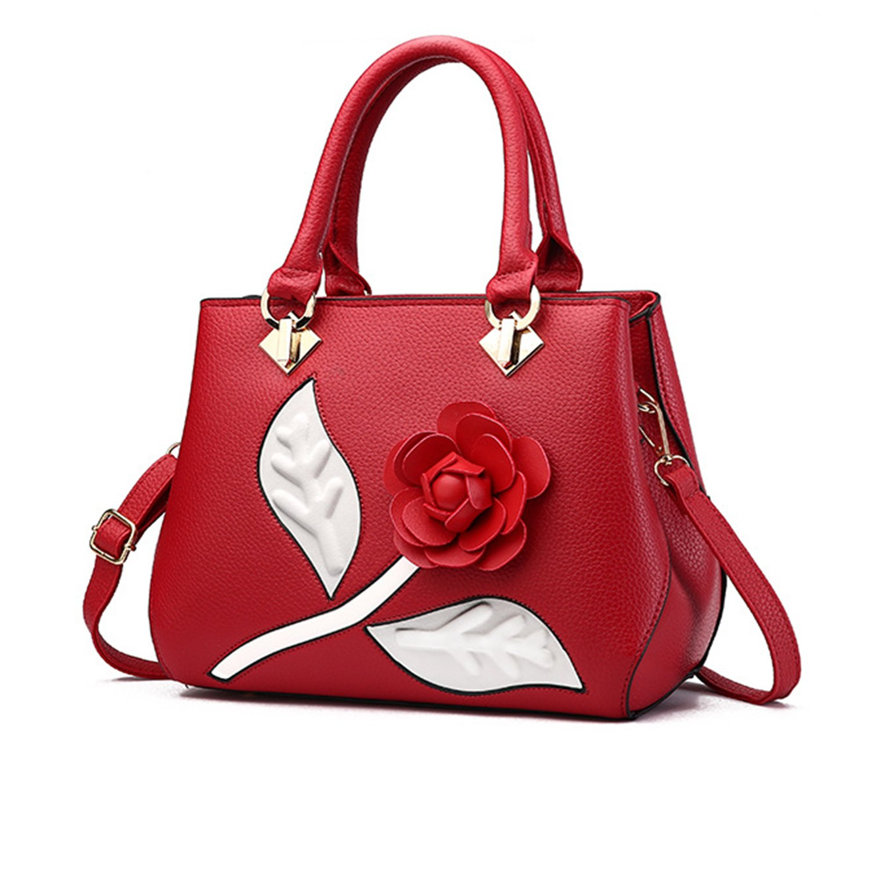 New Womens Ladies Girl Crossbody Shoulder PU Top Handle Handbag Tote Handbag Satchel Leather PU Top Handle with Rose Flower Red