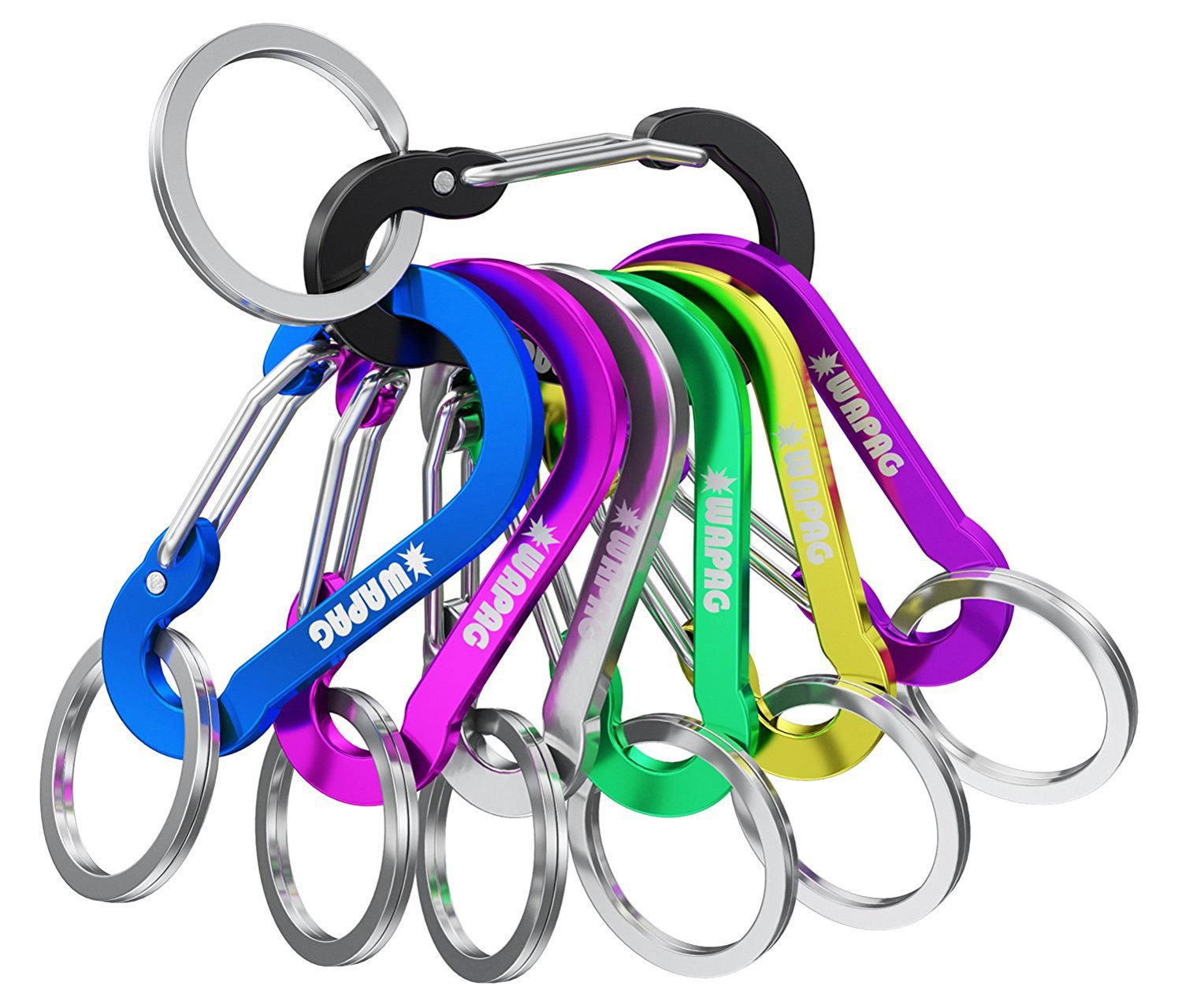 2Inch Small Caribeaner Keyrings Mini Spring Hooks for Small Items Keys Home Camping Hiking Traveling Fishing WAPAG Carabiner Clip Keychain Aluminum Strong Lightweight 5CM