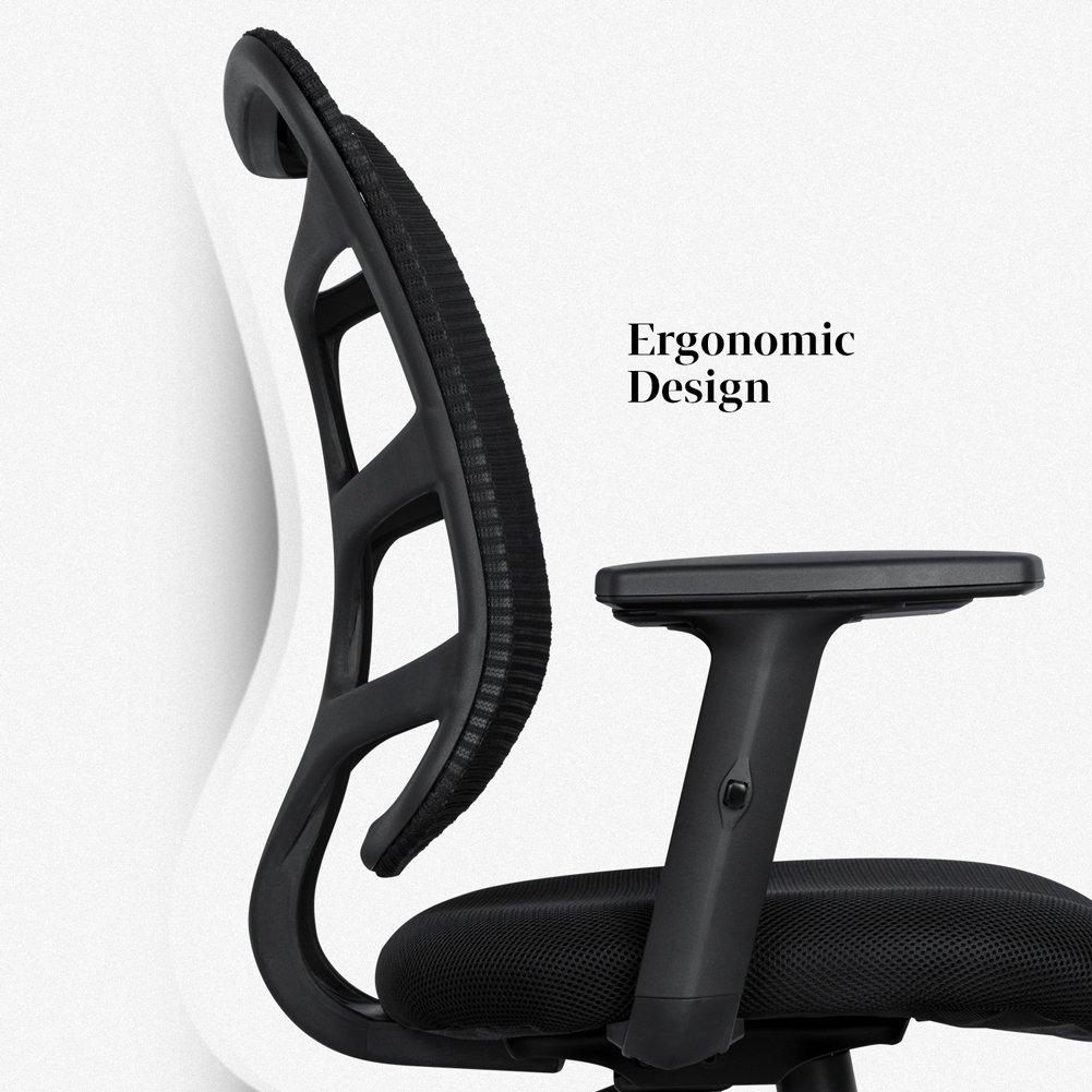 NKV Ergonomic Office Chair Mesh Computer Desk Chair Swivel Task Chair with Adjustable Armrests (Black) by NKV (Image #2)