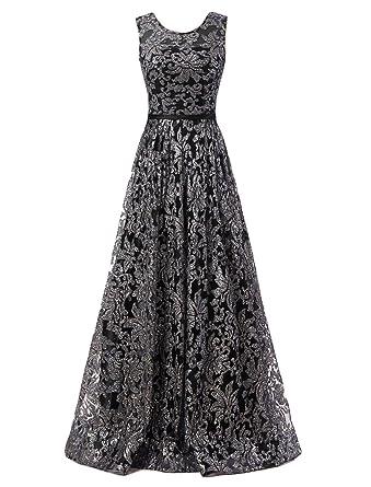 OYISHA Womens A-Line Sequined Prom Dress Vintage Formal Evening Dresses AWY4 Black 2