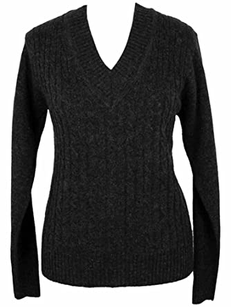 4129629167 Image Unavailable. Image not available for. Color  Annabelle Black V-Neck  Long Sleeve Cable Knit Sweater ...