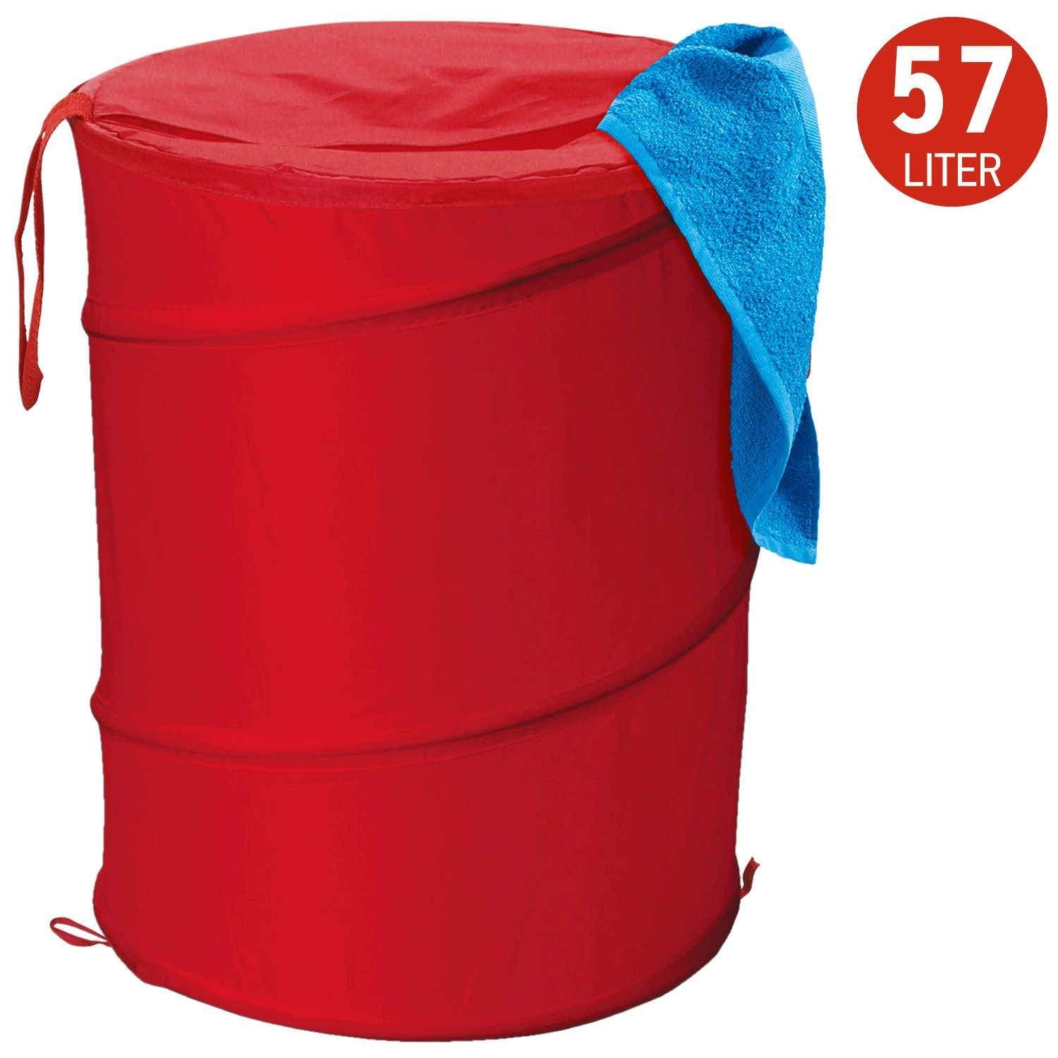 Artmoon Peppy Pop-up Foldable Laundry Hamper Polyester 57L D13.5 H20, Red
