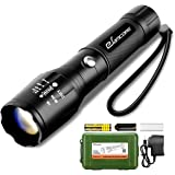 Rechargeable LED Tactical Flashlight, eSamcore Water Resistant Flashlight with Safety Hammer and 18650 Battery & Charger [Zoomable] [1000 Lumens] [5 Modes] For Camping Outdoor Emergency