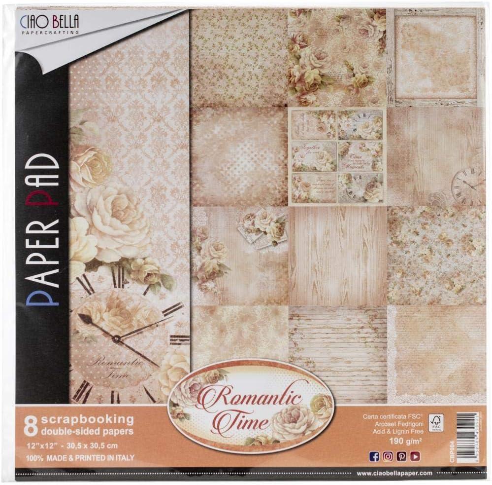 Ciao Bella Romantic Time Double-Sided Paper Pack 12X12 90Lb 8//Pkg-Romantic Time 8 Designs//1 Each