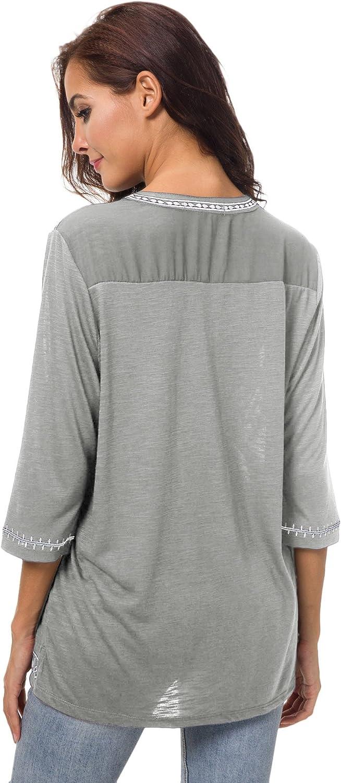 Urban GoCo Mujer Camisas Manga 3//4 Boho Blusa Bordado T-Shirt Tops
