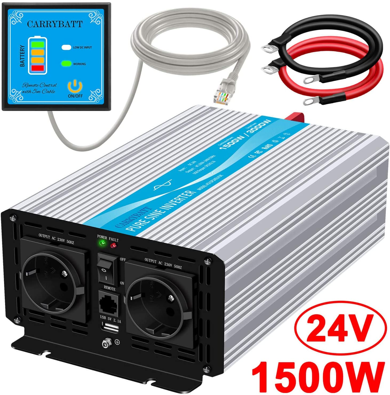 CARRYBATT Inversor de Corriente de Onda sinusoidal Pura 1500W/3000W Convertidor DC 24V a AC 220V 230V con Mando a Distancia & Salidas de AC duales y Puerto USB