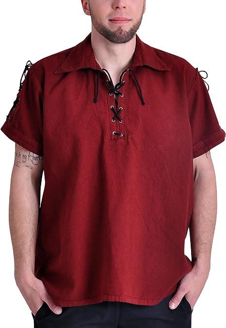 Camisa de pirata medieval camiseta de manga corta algodón de cordones Rojo, hombre, rojo, mediano: Amazon.es: Deportes y aire libre