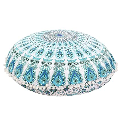 Franterd Floor Pillows, Round Pillowcases, Indian Floor Cushions, Decorative Pillows, Outdoor Cushion Cover, Boho Pillow (B)