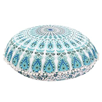 Amazon.com: Franterd Floor Pillows, Round Pillowcases, Indian Floor ...