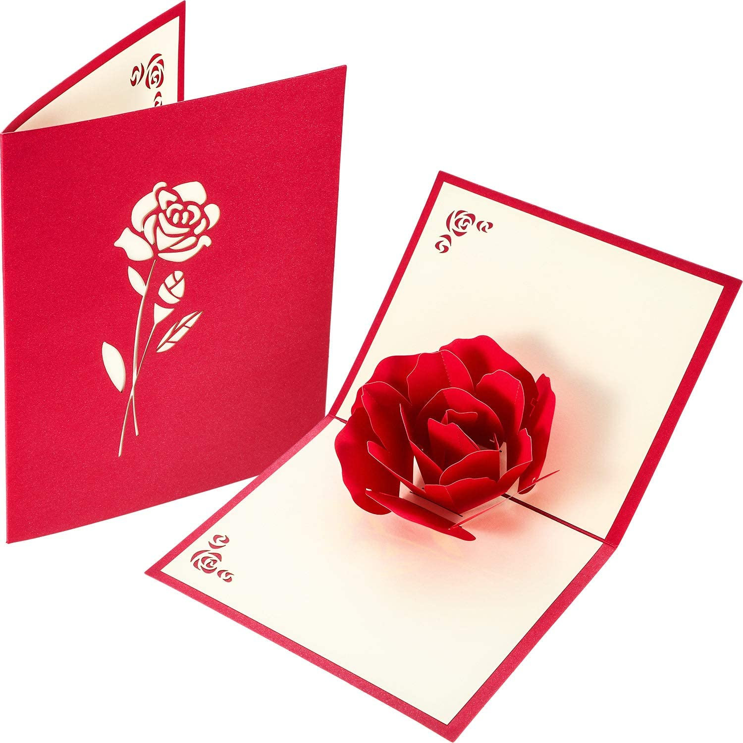 Amazon Com 3d Greeting Card 3d Rose Pop Up Greeting Card Rose Card And Valentines Cards For Valentine S Day Birthday Anniversary Invitation Wedding Love Gifts Valentine S Day Office Products
