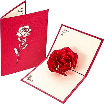 Amazon.com: Tatuo Big Rose 3D Pop Up tarjetas de ...