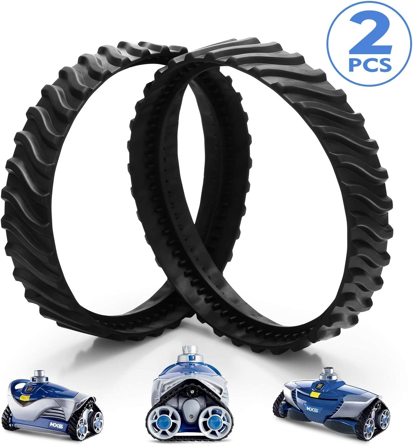 Ponwec Baracuda MX8 MX6 Swimming Pool Cleaner Zodiac Baracuda MX8 Replacement Wheel Track Tire Premium Heavy Duty Rubber Maded Exact Fit for R0526100, 2 Pack