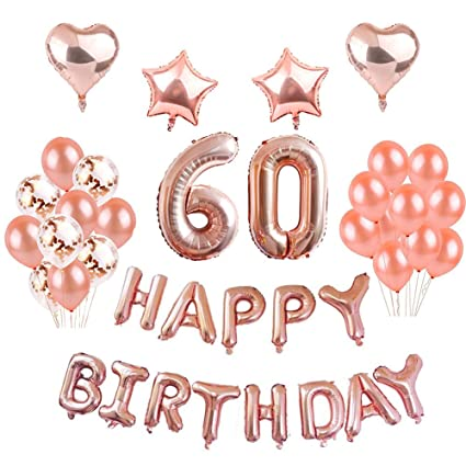 60th Birthday Decorations Puchod Rose Gold Happy Birthday Decor 60 Foil Balloons Banner Set Party Decorations Set Gold Confetti Balloons For Women
