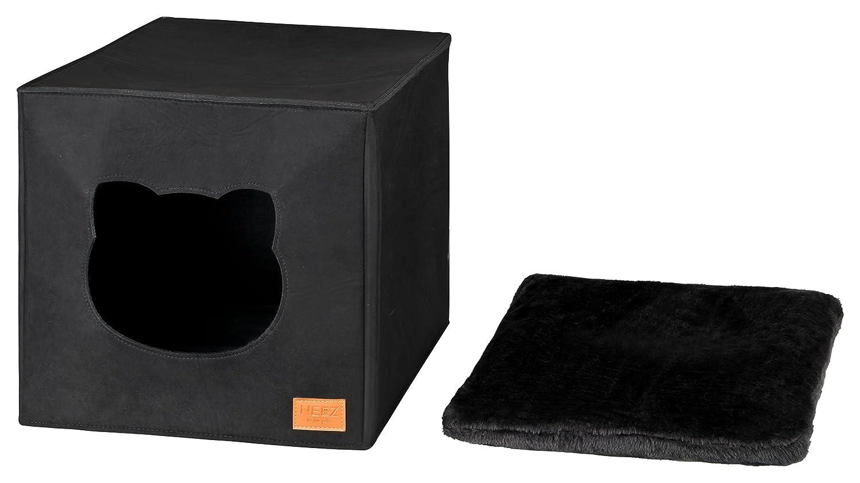 Cama de Gato by Incl. cojín | Casa de Gato Adecuada para IKEA Kallax & Expedit | Cueva Comoda en Gris óptica de Fieltro | Diseño Elegante y Moderno | (Black ...
