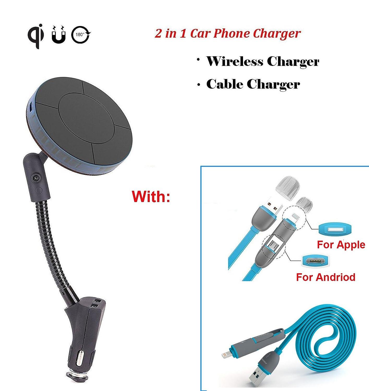 車Wireles携帯電話充電器デュアルUSBのスロット&磁気マウントホルダーバンドルwith 3 - ft 2 in 1 LightningとMicro USBケーブルコードfor iPhone 8 Plus/7 Plus/6s/6s Plus/iPad、SAMSUNG and more B078XRKV25
