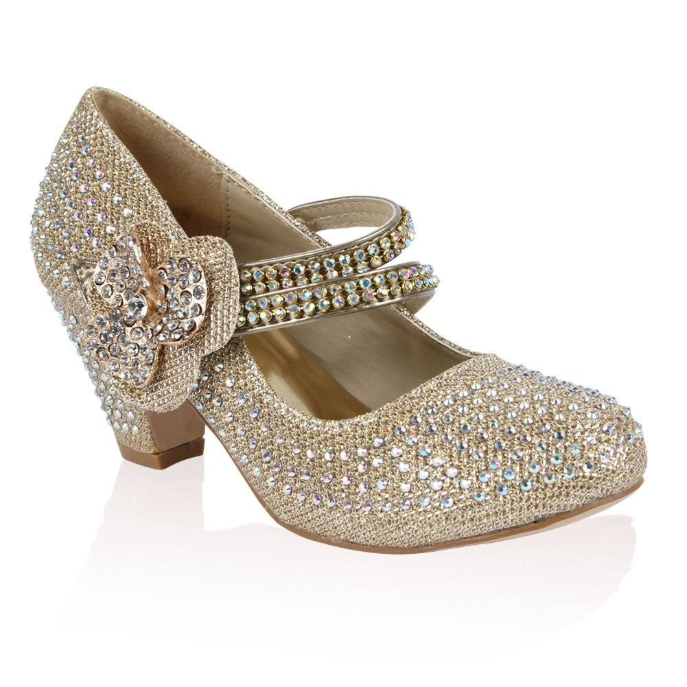 21B Girls Diamante Glitter Kids Party Wedding Mary Jane Low Heel Shoe My1stWish