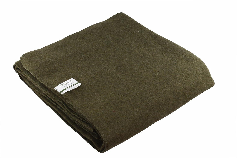 Cálida manta de 80% lana (Grande 160 x 210 cm - Estilo Militar - Retardante de fuego - Verde oliva): Amazon.es: Deportes y aire libre