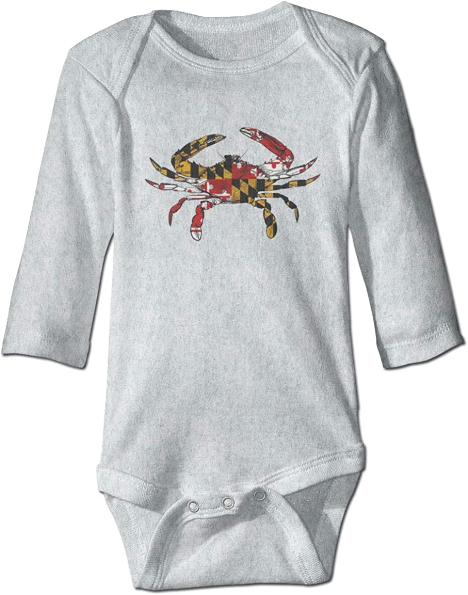 Marsherun Babys Girls and Boys Maryland Crab Colorful Logo Long Sleeve Bodysuit One-Piece Playsuits