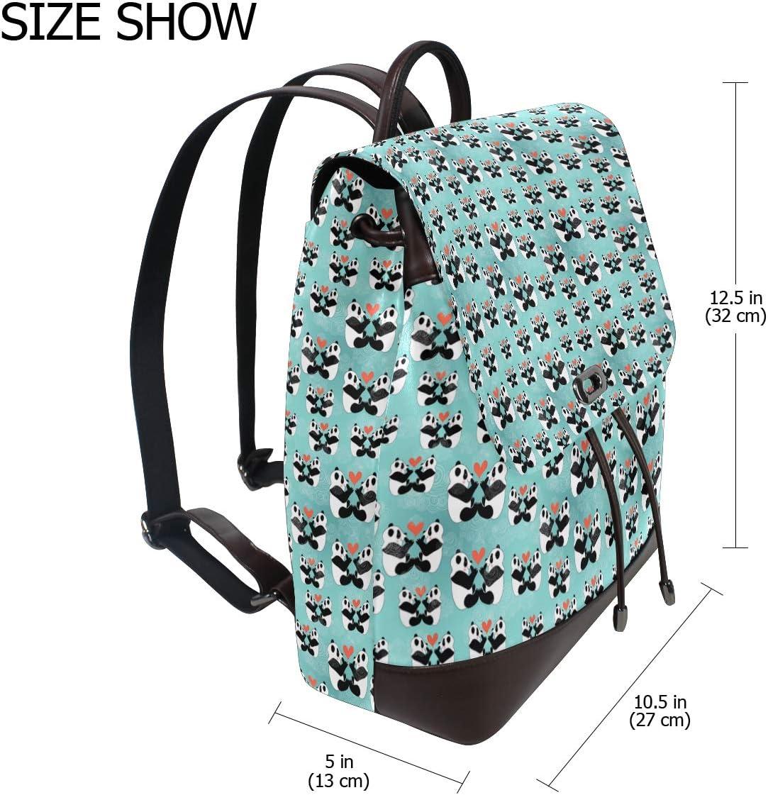 Leather Panda Bear In Love Blue Backpack Daypack Bag Women