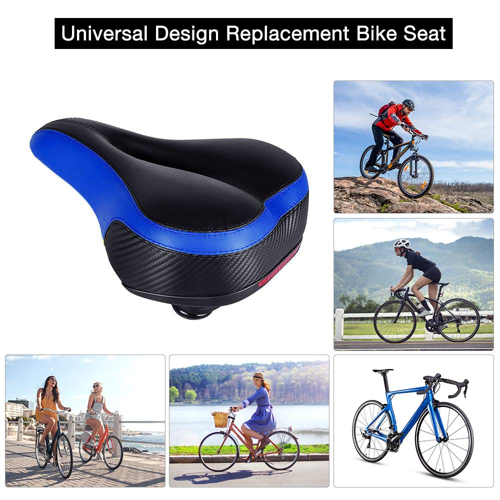 Bike Seat - TONBUX Oversized Bike Seat, Replacement Bicycle Seat - Taillight Reflective Tape Dual Shock Absorbing Ball Wide Gel Bicycle Saddle with Mounting Wrench by TONBUX (Image #3)