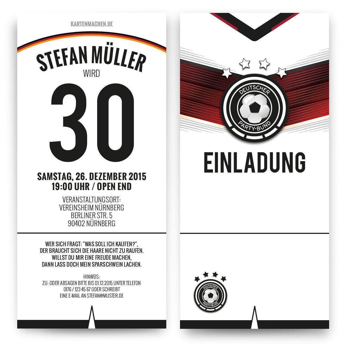 Einladungen 20 Stück zum Geburtstag Deutschland Fußball Trikot 4