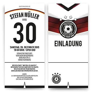 Invitaciones (50 unidades) para cumpleaños Alemania Camiseta ...