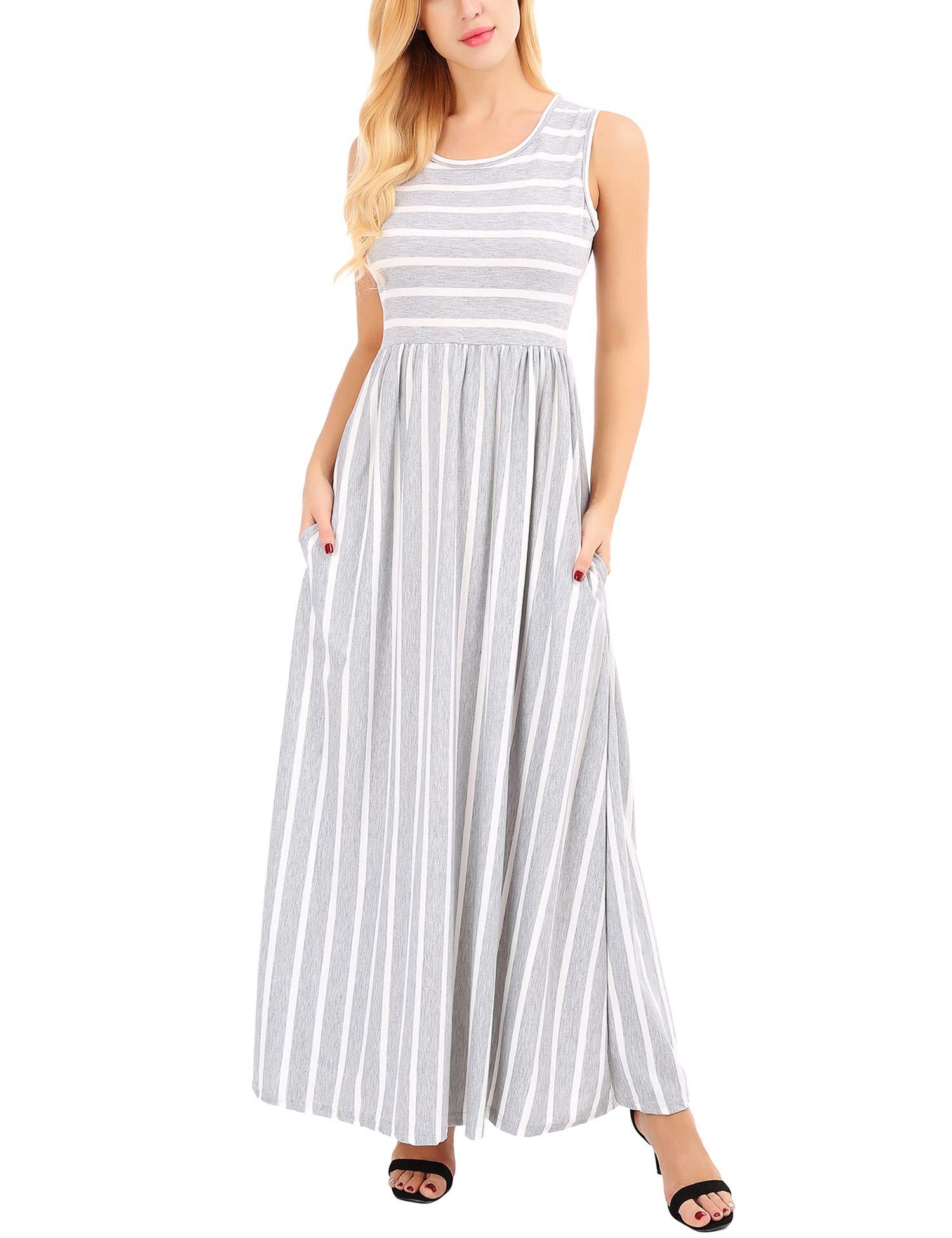 FISOUL Women Summer Striped Loose Swing T-Shirt Midi Dress with Pockets Grey XXL