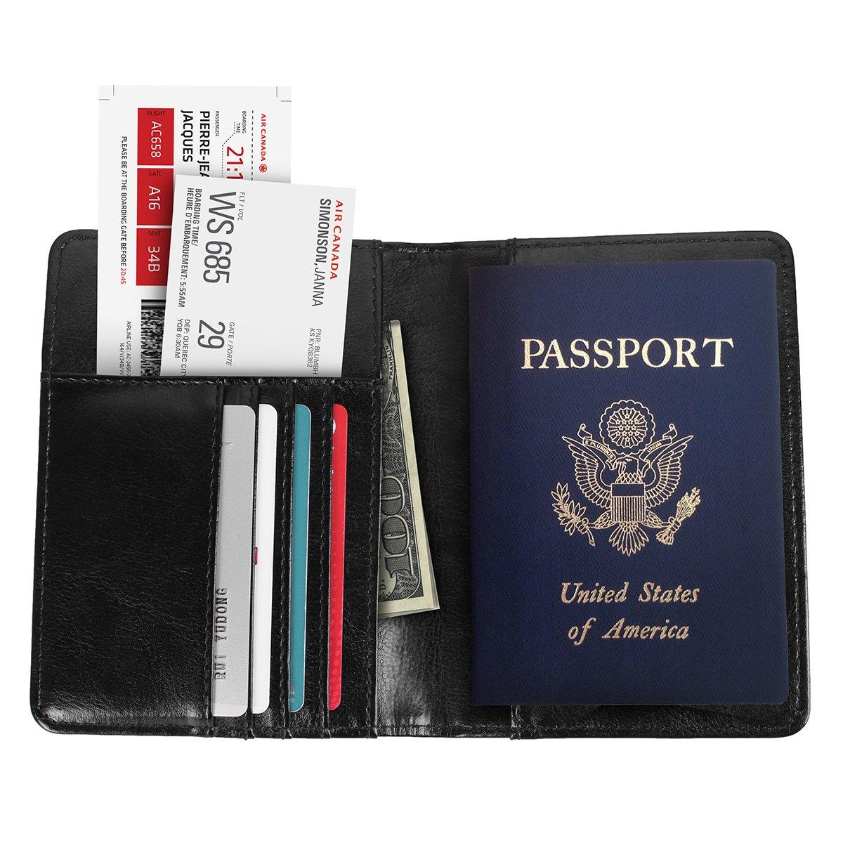 AICase Premium PU Leather Passport Holder FRID Blocking Passport Holder