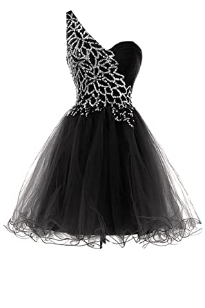 Sunvary Sweety Girls Homecoming Cocktail Dresses One Shoulder Prom Gowns Short-Length- US Size