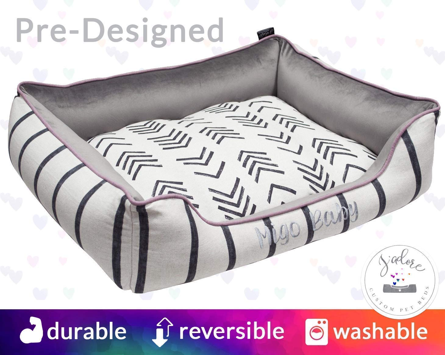 Boho Dog Bed Mud Cloth Stripes Bohemian Durable | chic tribal dog bed mudcloth african modern Lilac Purple | Washable Reversible