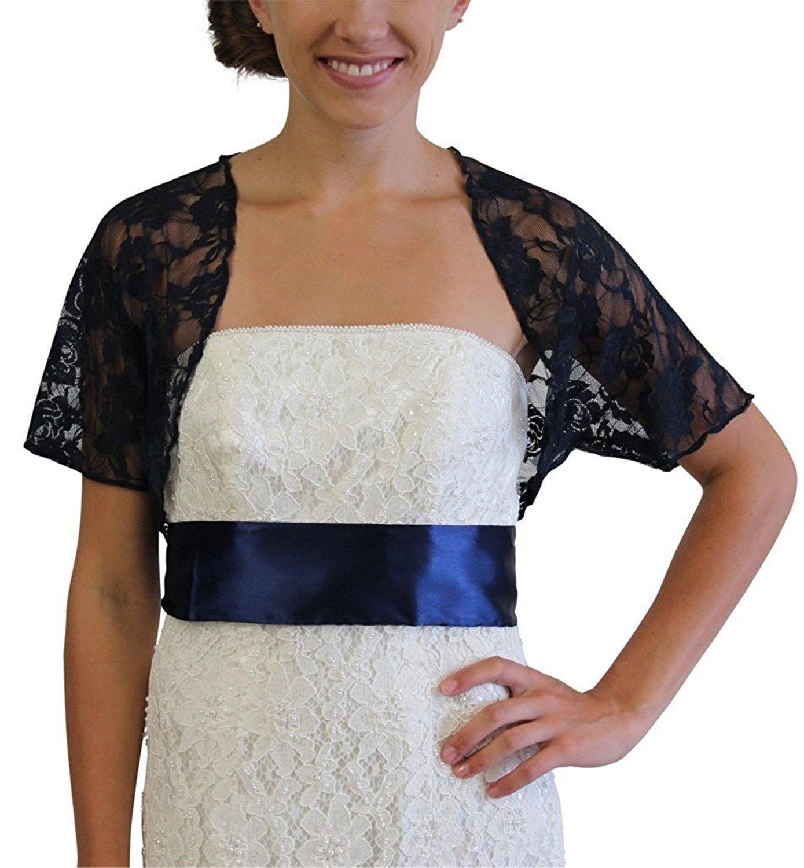 Onlylover Women's Sheer Lace Bolero Shrug Wedding Jacket Cardigan S Navy Blue