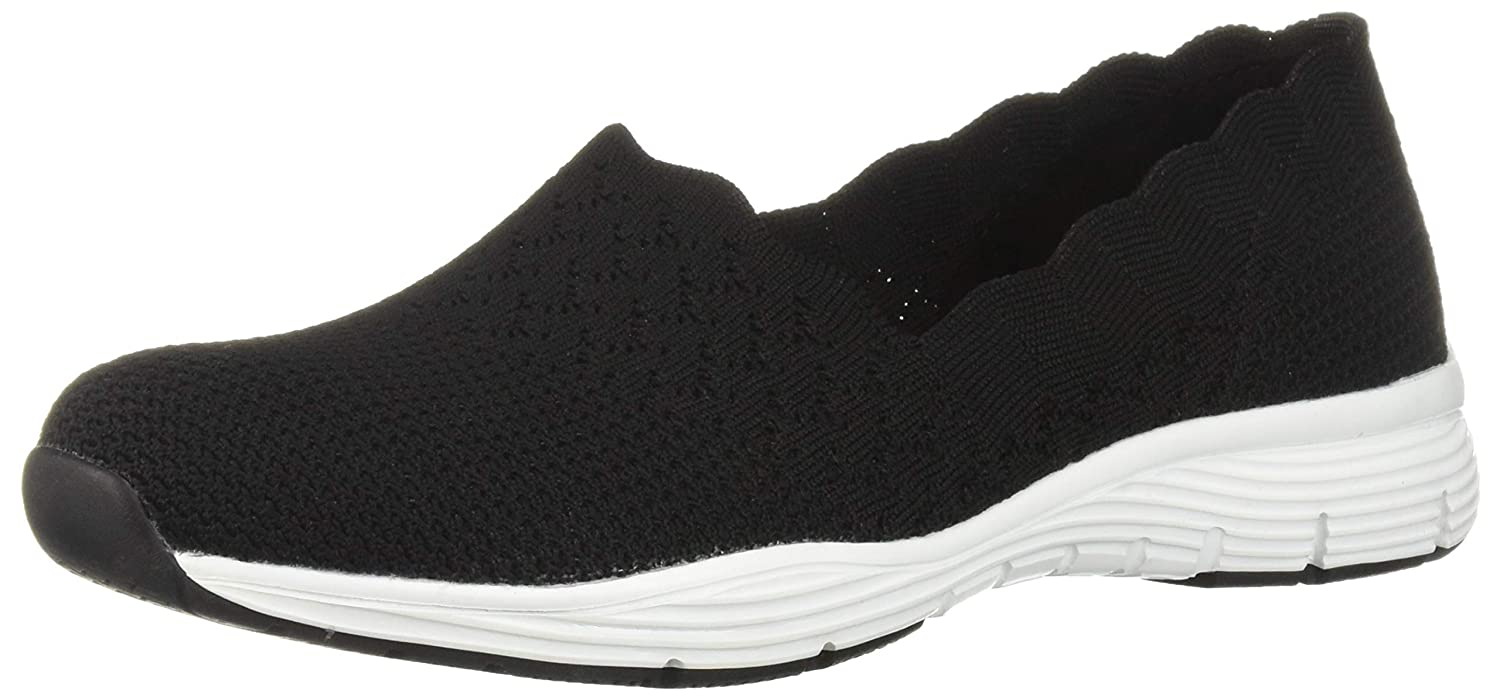 Black Skechers Womens Seager - STAT - Scalloped Collar, Engineered Skech-Knit Slip-On - Classic Fit Loafer