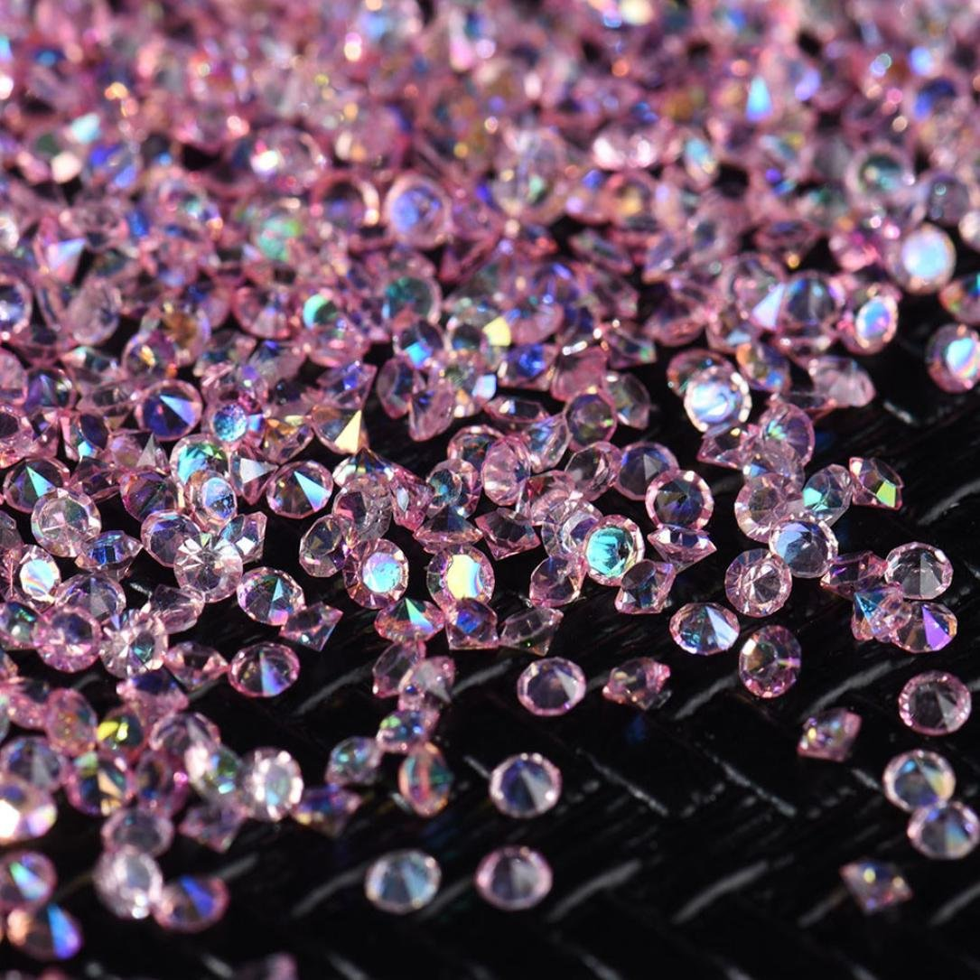 Hongxin Finished Fake Nail Glitter Wedding Beads Diamond Decoration 3D Nail Art Rhinestones Nail Crystals Patch DIY Diamond Table Confetti Clear Crystal Events Party Accessories (pink (2000pcs 3mm))