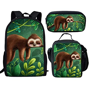 ccf36658b105 Showudesigns Kids Backpack Lunch Box Set Cute Sloth Tree Print Children  School Bag Pack Bookbag Lunch Bag Pencil Case for Elementary Primary Girls  ...