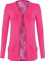BNWT Ladies Lace Back Open Pocket Boyfriend Cardigan Long Sleeve Size 8-22 UK Women