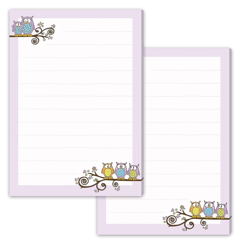 Briefpapier-Set f/ür Kinder EULEN 20 Blatt DIN A4 mit Linien incl 20 bedruckte Umschl/äge//Briefpapier f/ür Kinder//Briefpapierset Kinder//Briefpapier M/ädchen