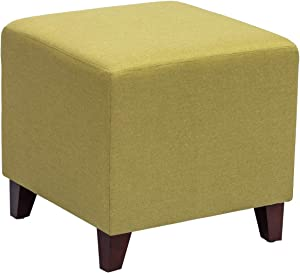 Homebeez Square Ottoman Footrest Stool, Small Fabric Bench Shoe Dressing Seat, Accent Furniture for Living Room (Yellow)