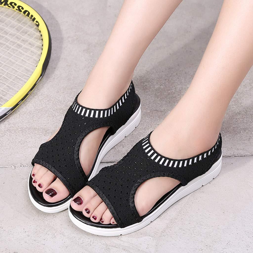 1cc02f6284c Amazon.com  JJLIKER Womens Mesh Hollow Breathable Shoes Peep Toe Chunky  Platform Wedges Sandals Summer Stretch Slip-On Shoes  Clothing