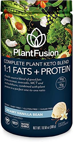 PlantFusion Complete Plant Based Keto Blend 1 1 Fats Protein Powder Drink, Ketogenic Diet Supplement, MCTs, No Sugar, Gluten Free, Non Dairy, Vegan, Non Soy, Non GMO Vanilla Bean, 10.58 Oz